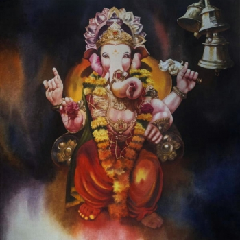 Acrylic on Canvas painting titled Ganapati's Blesssings