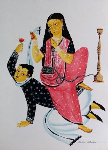 veg dye on paper painting titled Bengali Babu in Love
