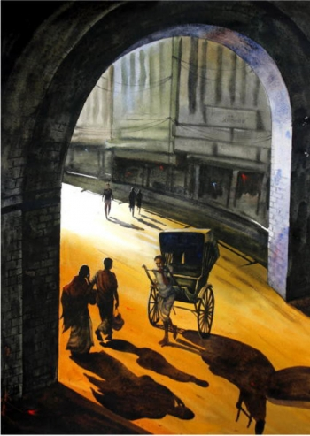 Watercolour on paper painting titled Sunlight through the Arch I
