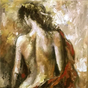 Arcylic on canvas painting titled After the Bath