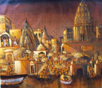 Acrylic on canvas painting titled The Magical Ghats of Benares