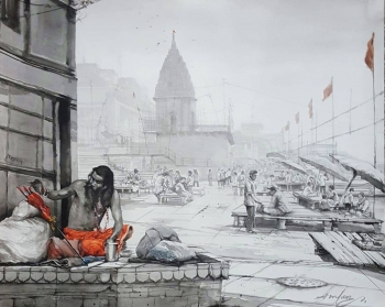 Watercolour on Paper painting titled Sadhus at the Varanasi Ghats II