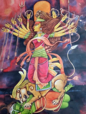 Watercolour on paper painting titled The Power of Devi Durga