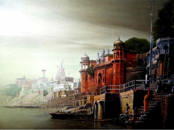 Oil & Acrylic on Canvas painting titled Prayers at Benares Ghats