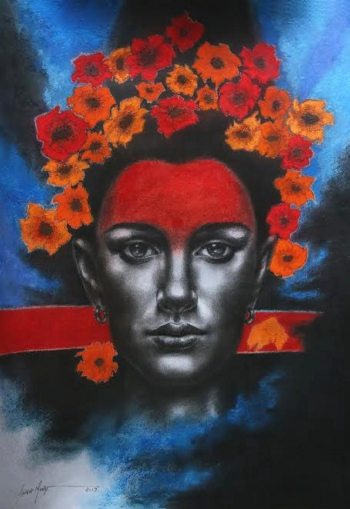Colored Charcoal on mountboard painting titled The Princess