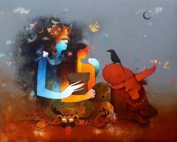 Charcoal & Acrylic on canvas painting titled Shiva, Parvati & Nandi