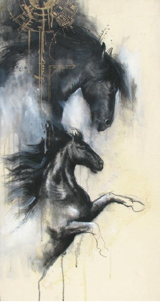 Mixed Media on canvas board painting titled Majestic Horses IV