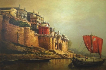 Oil & Acrylic on Canvas painting titled Ramnagar Fort Palace, Benares I