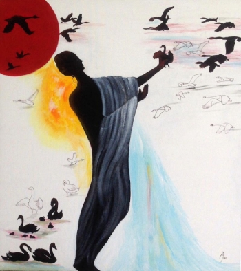 arcylic on canvas painting titled The Flight