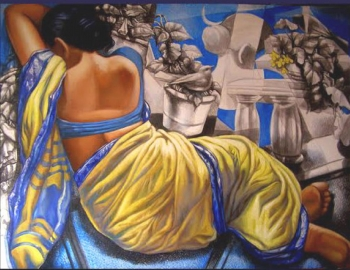 Mixed media on canvas painting titled Languid Pastimes I