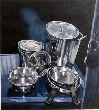 Watercolour on paper painting titled Still life with Pans