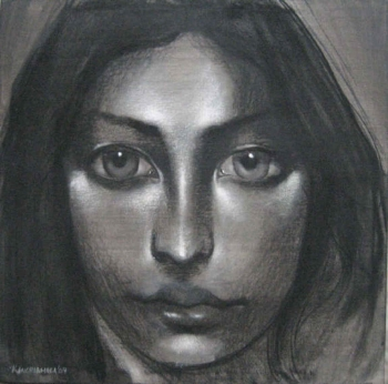 Charcoal & Acrylic on canvas painting titled Her gentle gaze