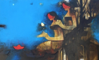 Charcoal & Acrylic on canvas painting titled Celebrations with Light