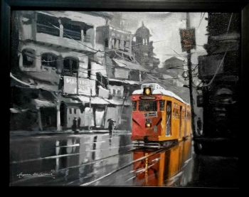 Acrylic on canvas painting titled Glorious Kolkata V
