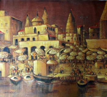 Acrylic on canvas painting titled The Golden Ghats at Dusk