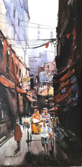 Acrylic on canvas painting titled The Heritage of Kolkata V