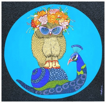 Acrylic & Ink on canvas painting titled Snail Rider