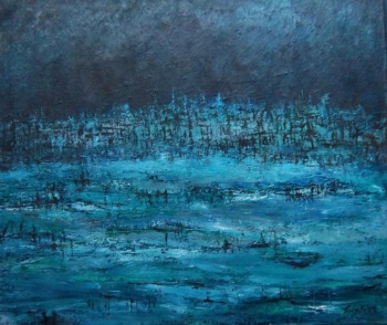 Acrylic on Canvas painting titled Coolness of the Pond