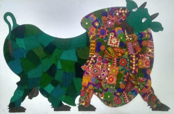 Mixed media on Canvas board painting titled The Royal Bull in Green