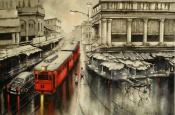 Watercolour on Paper painting titled A Rainy Day in Kolkata- V