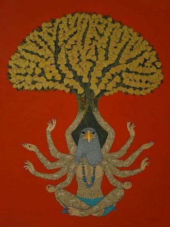 Acrylic & Ink on canvas painting titled Shrishti - the Universe