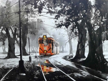 Acryllic on Canvas painting titled A Journey through Kolkata I
