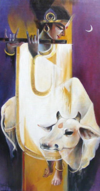 Oil & Acrylic on Canvas painting titled A Luminous Divinity