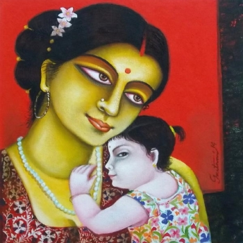 Acrylic on canvas painting titled Mother & Child