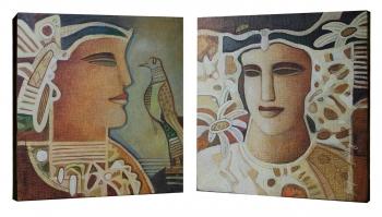 Acrylic on Canvas painting titled Her Elusive Beauty I - II