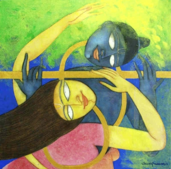 Oil, charcoal & Acrylic on Canvas painting titled The Golden Flute II