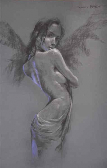 Soft Pastel on Paper painting titled A Flirtatious Beauty- I