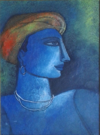 Acrylic on Canvas painting titled An Indian Tribal