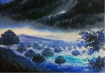 Watercolour on paper painting titled The Rolling Blue Valley