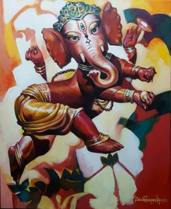 Acrylic on Canvas painting titled Infant Ganesha in His Glory