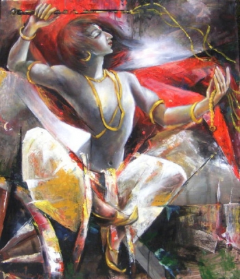 Oil & Acrylic on Canvas painting titled Parthasarathy