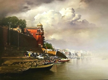 Oil & Acrylic on Canvas painting titled Soulful Tranquility at the Ghats