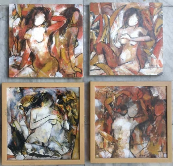 Acrylic on Canvas painting titled Adorning Myself I - IV