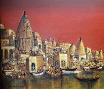 Acrylic on canvas painting titled The Ghats at Sunrise
