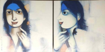 Acryllic on Canvas painting titled An Affectionate Nudge I & II (16x16 Each)