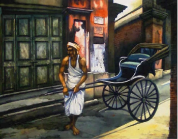 Watercolour on paper painting titled The Rickshaw puller