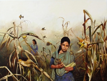 Acrylic on Canvas painting titled The Corn field
