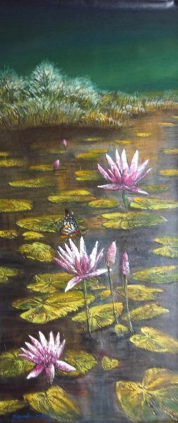 Acrylic on Canvas painting titled Beautiful Lotus Pond