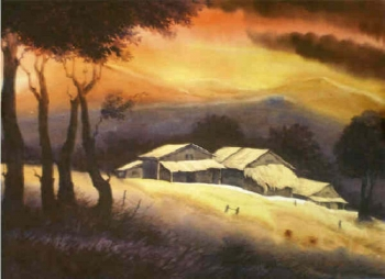 Watercolour on paper painting titled Sunset by the hillside
