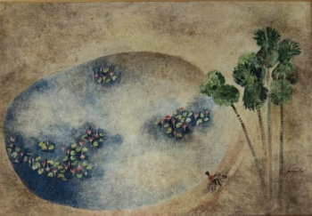 Watercolor on Paper painting titled The Pond