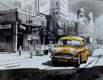 arcylic on canvas painting titled Glorious Kolkata II