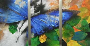 Charcoal & Acrylic painting titled Butterfly people II
