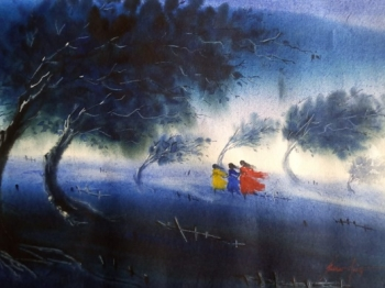 Watercolour on paper painting titled A Windy Day