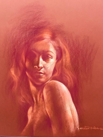 Soft Pastel on Paper painting titled Her Smouldering Beauty III
