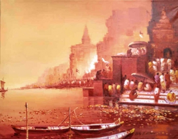 arcylic on canvas painting titled The Magic of Benares