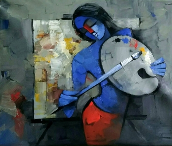 Acrylic on Canvas painting titled Painting to the Rhythm of Music